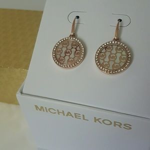 NWT MK rose gold  monogram earrings